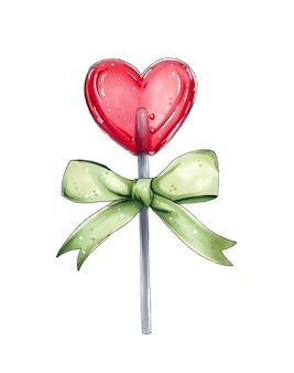 Pirulito vermelho em forma de coração com um grande laço verde
