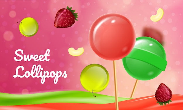 Pirulitos de fruta doce em fundo rosa