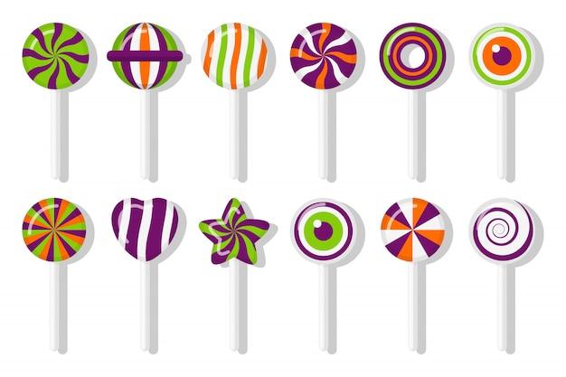Pirulitos doces de halloween com conjunto padrão espiral diferente. deleite colorido para o feriado principal em outubro. estrela de bastão de doces de açúcar doce, coração, olho com design trançado. ilustração isolada