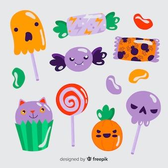 Pirulitos e doces de halloween mão desenhada