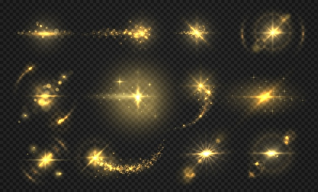 Pisca luzes e faíscas. efeito glitter dourado, partículas e raios transparentes brilhantes, efeitos de reflexo abstrata.