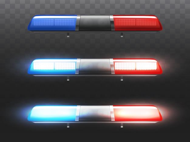 Pisca-pisca conduzido vermelho e azul realístico 3d para o carro de polícia. sinal de xenônio do serviço municipal.