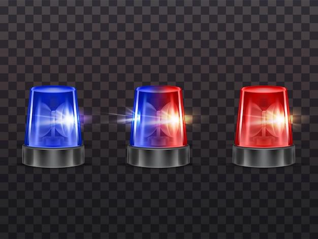 Pisca-pisca vermelhos e azuis realistas 3d. polícia, ambulância ou outra sirene de serviço municipal