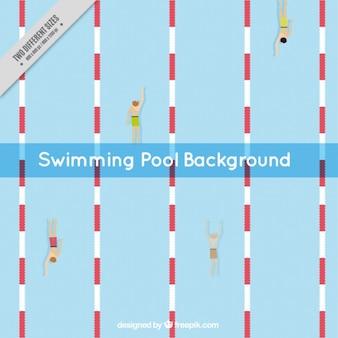 Piscina com nadadores de fundo