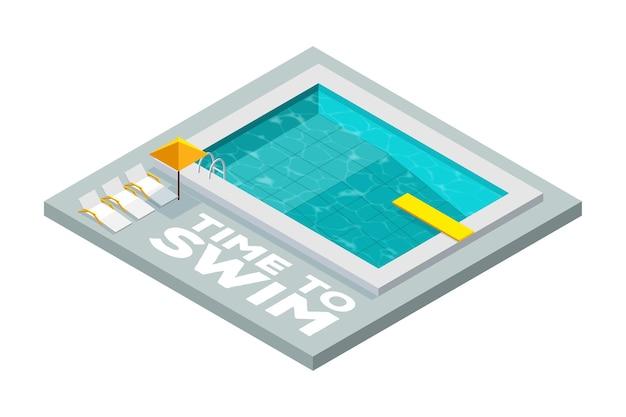 Piscina com trampolim em estilo isométrico