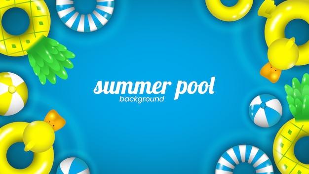 Piscina de verão e fundo de flutuadores de piscina