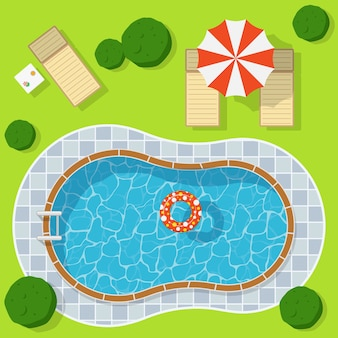 Piscina em um prado verde com guarda-chuva e espreguiçadeira. férias de relaxamento e lazer em águas azuis
