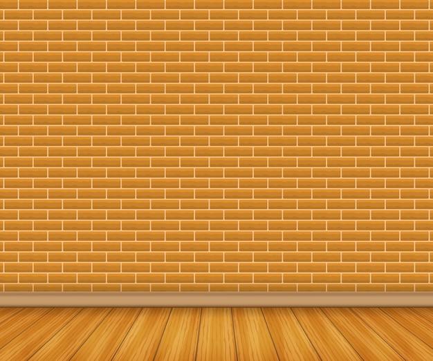 Piso de madeira realista e tijolo branco.