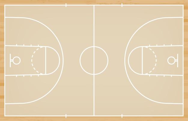 Piso de quadra de basquete com linha em fundo de textura de madeira