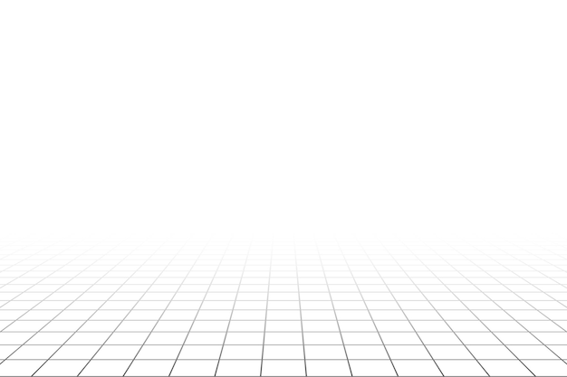 Piso de sala branca de perspectiva de grade com fundo de estrutura de arame cinza. modelo de tecnologia digital cyber box. modelo de arquitetura abstrata de vetor