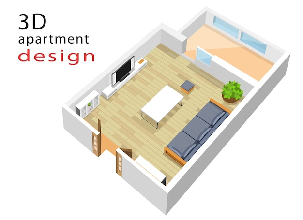 Piso plano isométrico para apartamento. ilustração do interior moderno da sala de estar isométrica.