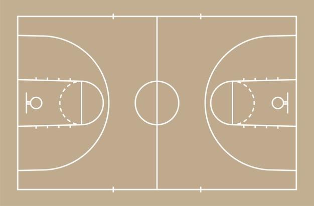 Piso quadra de basquete com a linha de fundo