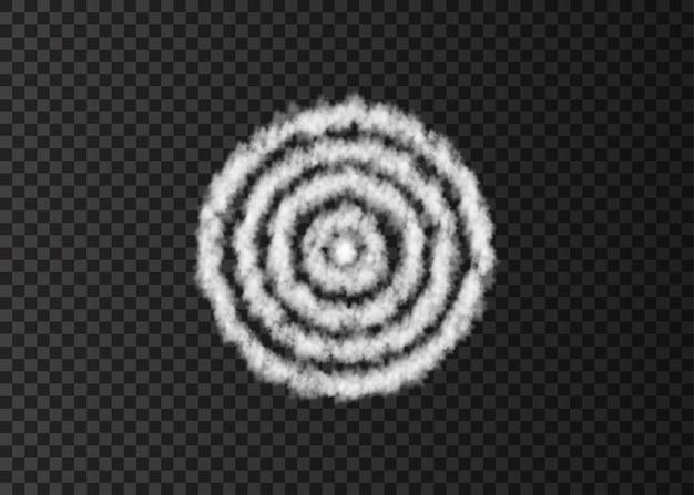 Pista de fumaça branca em espiral isolada em fundo transparente. alvo. nuvem de vetor realista ou textura de nevoeiro.