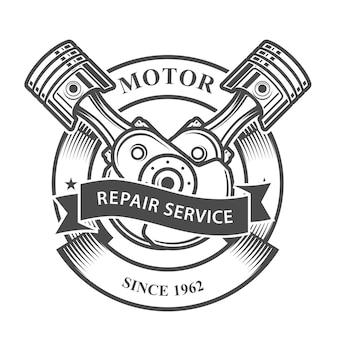 Pistões do motor no virabrequim - emblema de serviço de conserto de automóveis