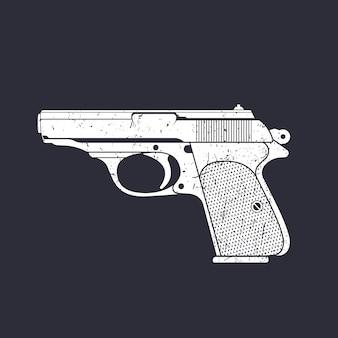Pistola clássica branca no escuro