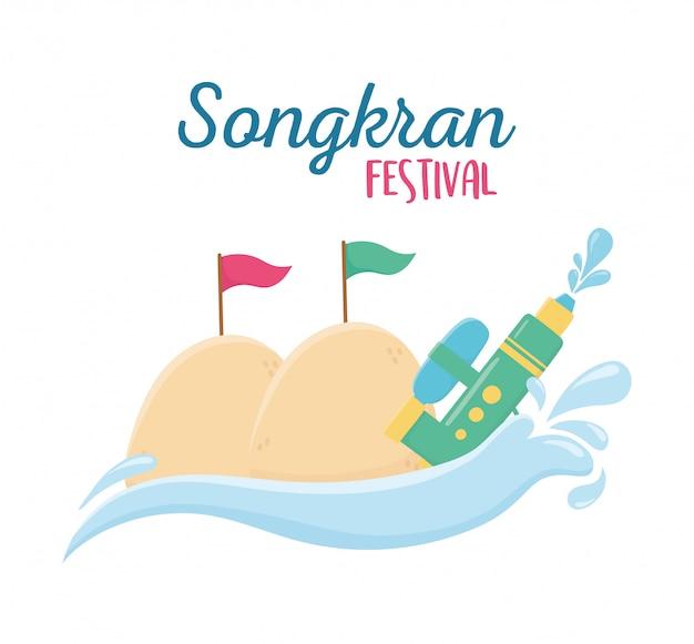 Pistola de água plástica songkran festival com bandeiras