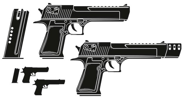 Pistola de pistola de silhueta gráfica com clip de munição
