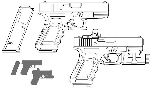 Pistola gráfica em preto e branco com lanterna