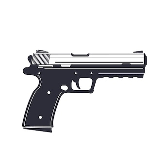 Pistola moderna, pistola isolada no branco, ilustração