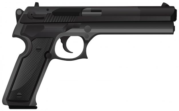 Pistola preta no branco