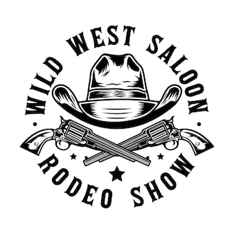 Pistolas de faroeste e chapéu de cowboy
