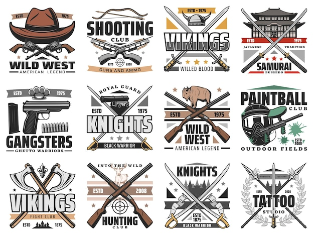 Pistolas e espadas arma retro. clube de tiro, caça e paintball, gângsteres e vikings frio e arma de fogo, oeste selvagem, bushido do japão e espada de cavaleiro, emblemas de estúdio de tatuagem