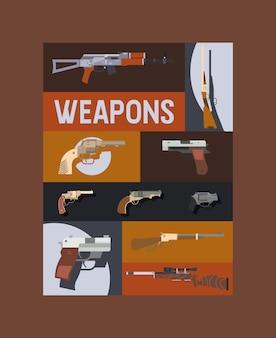 Pistolas e vinhetas cartaz pistola automática de armas armas de fogo de combate militar