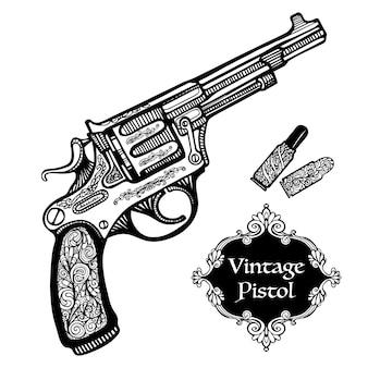 Pistolas retrô desenhadas à mão