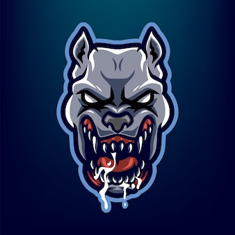 Pitbull cabeça mascote logotipo para sport e esport isolado