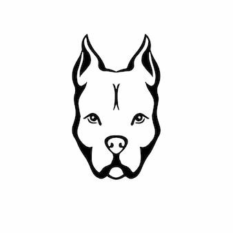 Pitbull head logo symbol stencil design tatuagem ilustração em vetor