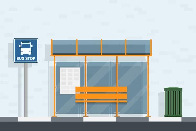 Piture de ponto de ônibus, sinal de parada de ônibus e lata de lixo, ilustração de estilo