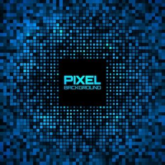 Pixel abstrato azul brilhante brilho fundo.