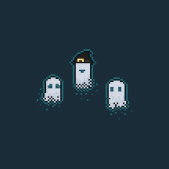 Pixel art cartoon bonito fantasma conjunto de caracteres.