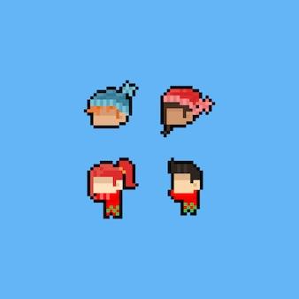 Pixel art cartoon cabeça ícones com cachecol e chapéu de inverno.