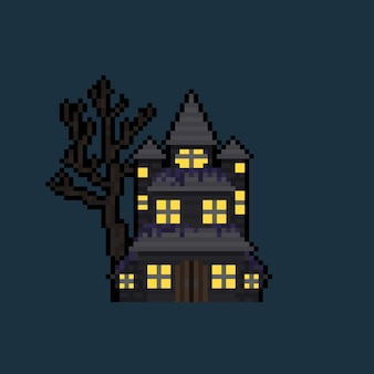 Pixel art cartoon casa assombrada.