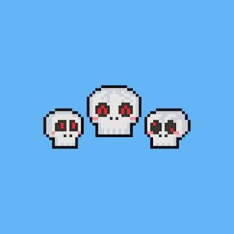 Pixel art cartoon caveira cabeça conjunto