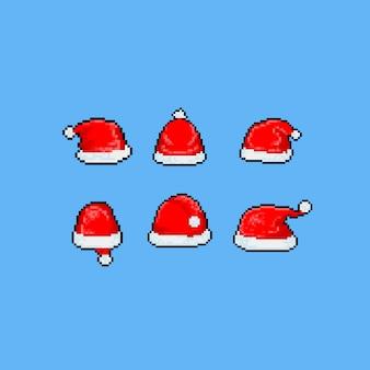 Pixel art cartoon conjunto de chapéu de papai noel.