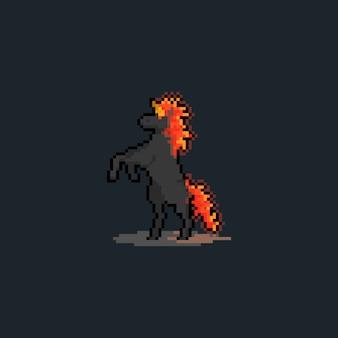 Pixel art cartoon escuro fogo unicórnio em pé no design de personagens.