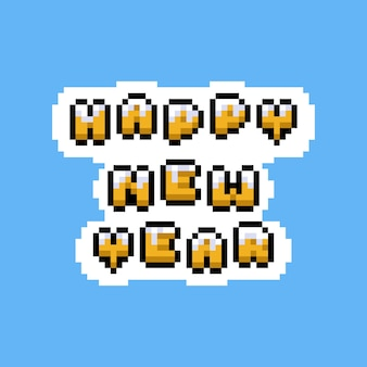 Pixel art cartoon feliz ano novo texto design.