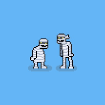 Pixel art cartoon múmia personagens