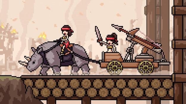 Pixel art cena balista forte guerra