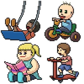 Pixel art com crianças isoladas brincando