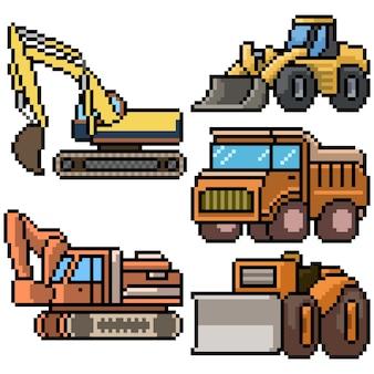 Pixel art com veículos de construção isolados