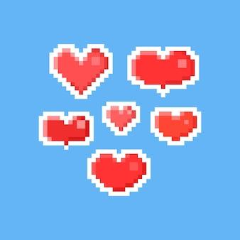 Pixel art conjunto de coração do dia dos namorados.
