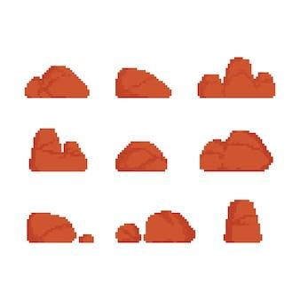 Pixel art conjunto de ilustração de pedra do deserto.