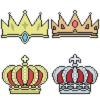 Pixel art da ilustração do conjunto de coroa