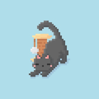 Pixel art de alongamento de gatinho com brinquedo