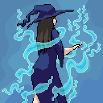 Pixel art de bruxa e magia