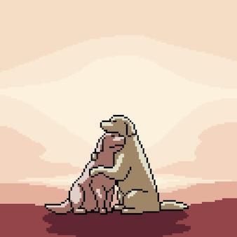 Pixel art de casal de cães românticos