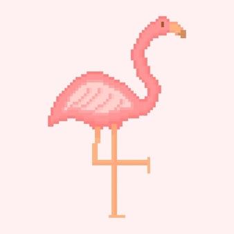Pixel art de cegonha rosa